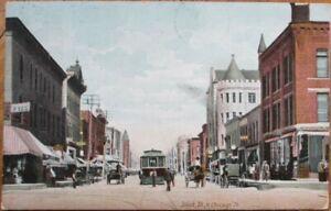 Joliet-IL-1908-Postcard-North-Chicago-Street-Downtown-Illinois-Ill