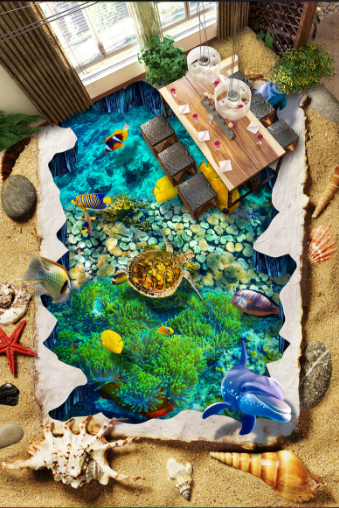 3D Ocean Animal 4127 Floor WallPaper Murals Wallpaper Mural Print AJ AU Lemon