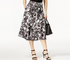 Grace-Elements-Womens-A-Line-Linen-Blend-Midi-Skirt-White-Black-Jungle-Print-70