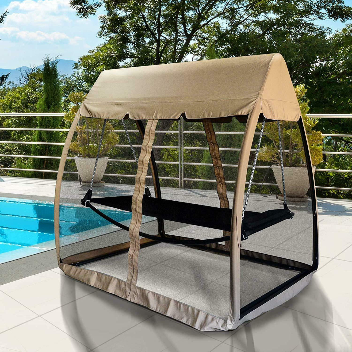 Details About 3 Seat Garden Swing Chair 2in1 Outdoor Rocking Bench Daybed Hammock Cover Beige