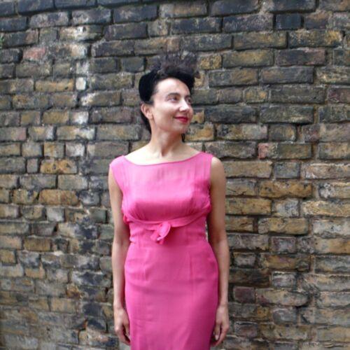 '50 in anni da Maxi abito degli 10 rosa cocktail Uk sera chiffon Cerise IIpgvZq