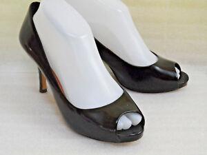 0cc285da158 Vince Camuto Black Patent Leather Classic Open Toe Pumps Heels Sz ...