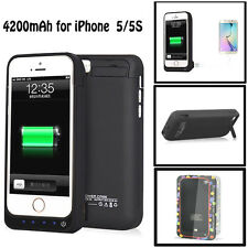 4200mah External Power Bank Battery Backup Charger Case Cover For iPhone 5 5S US