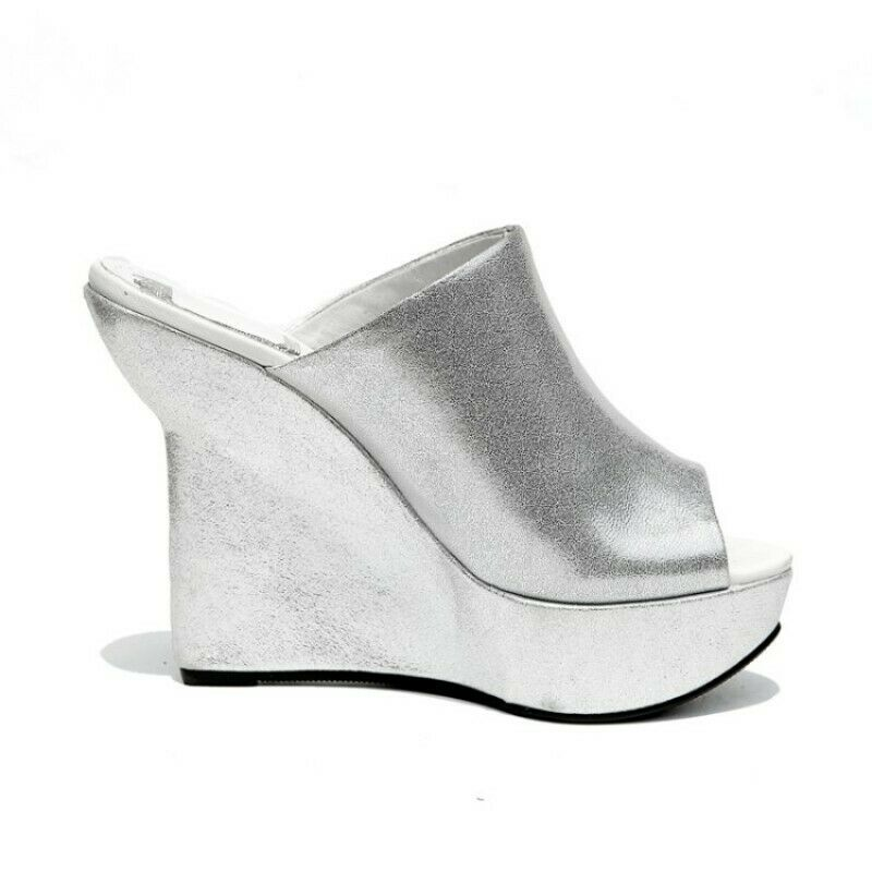 Donna Donna Donna Occident Slip On High Wedge Heel Slippers Mules Sandals Open Toe Leather 617025