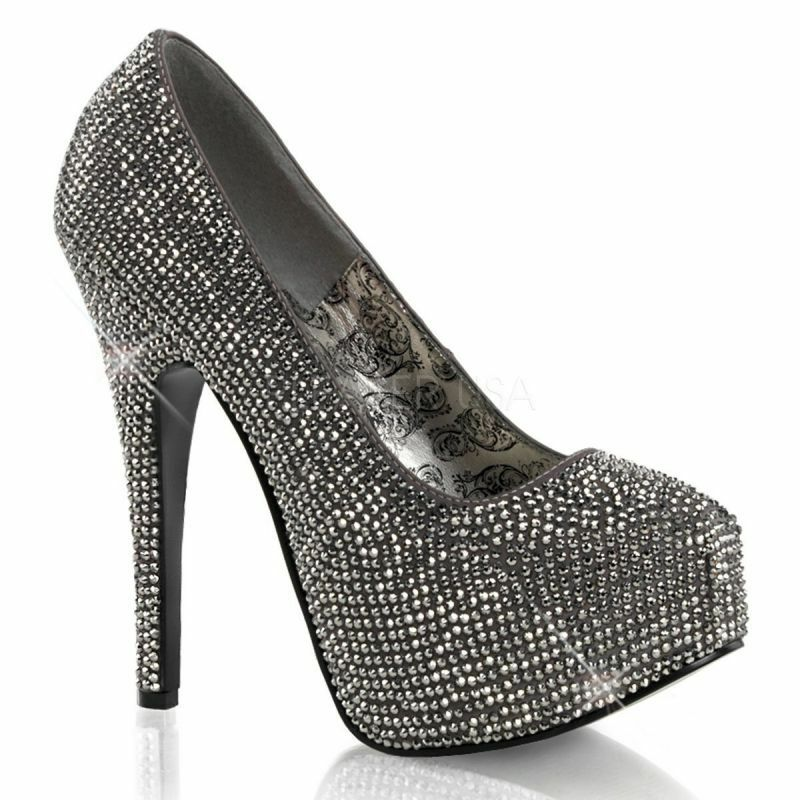 BORDELLO TEEZE-06 Plateau Pumps Anthrazit Strass Abendschuh Glamour Gogo Sexy ..