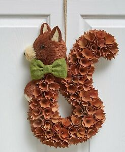 Squirrel Harvest Wood Curl Door Wreath