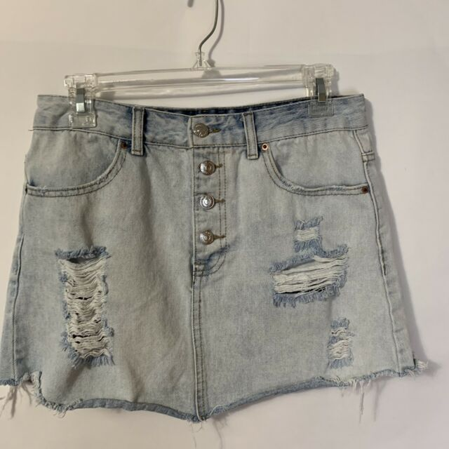 c7e4751080 Forever 21 Frayed Cut Off Distressed Denim Mini Skirt Sz 28 Button Up 30