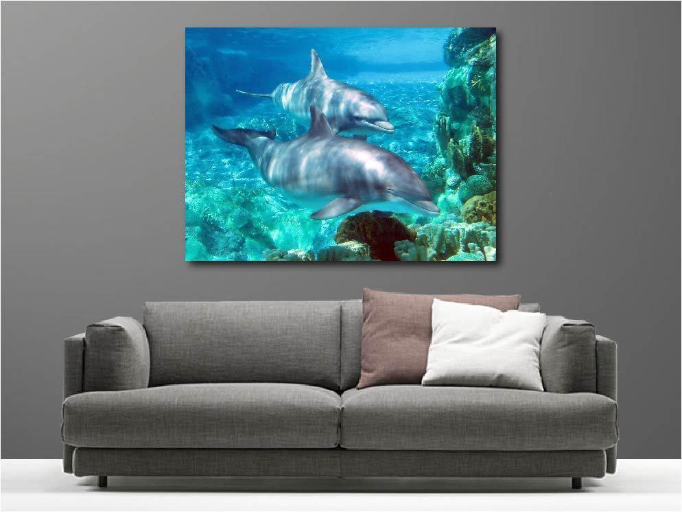 Quadro Dipinti Decocrazione con Kit Animali Delfini Ref 20471