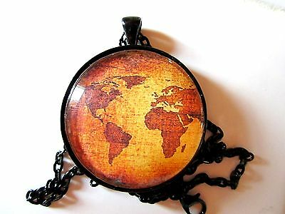 "World map globe earth graphic 1.5"" round glass pendant necklace with 24"" chain"