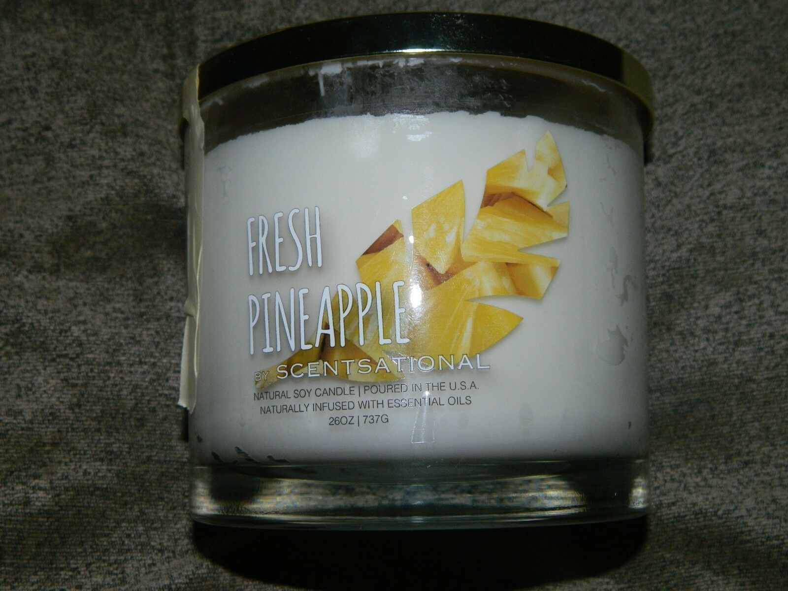 Scentsational Fresh Pineapple  Natural Soy Scented Candle 26 oz.