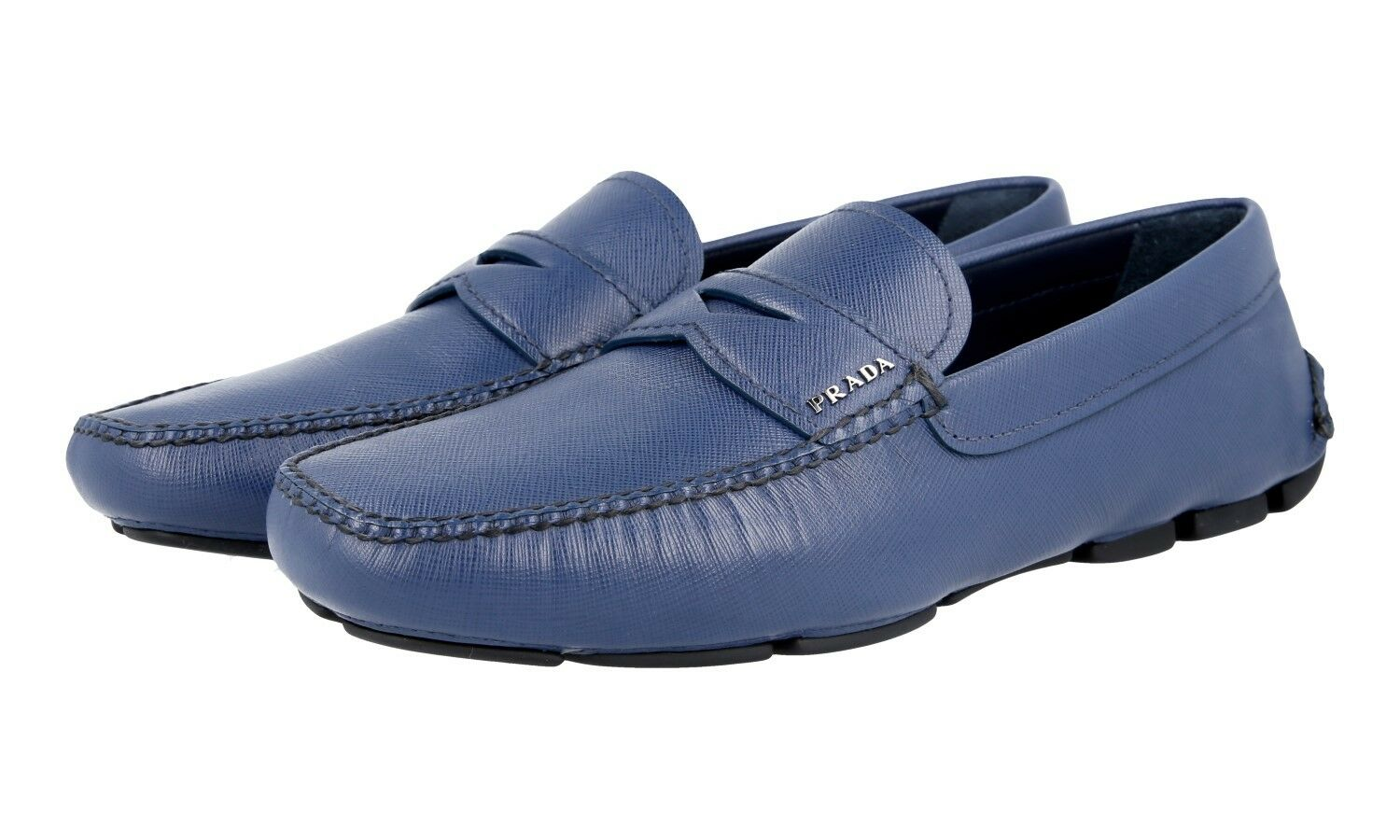 AUTH PRADA SAFFIANO PENNY LOAFER SHOES 2DD001 blueETTE NEW 9 43 43,5