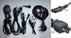 Lot-de-5-cordons-cables-secteur-Royaume-Uni-Irlande-Power-cord-UK-Eire-voyage