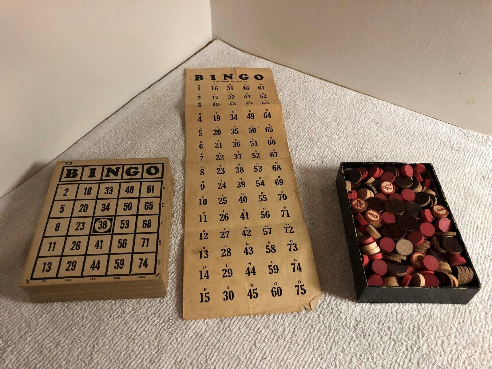 Vintage Bingo Game - Cards, Complete Wood Bingo Numbers & Markers - Parker Bros.