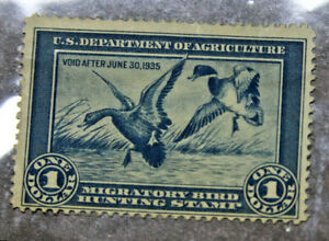 1934-Migratory-Bird-Duck-Hunting-US-Stamp-1-Blue-RW1-No-Gum-USED-No-Cancel-A25J