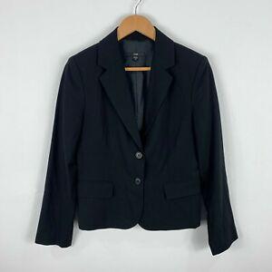 CUE-Wool-Blazer-Jacket-Womens-Size-10-Black-Made-In-Australia-Button-Front