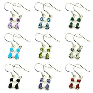 Natural-Gemstone-925-Silver-Earings-For-Women-Mixed-Cut-Fish-Hook-Back-Handmade