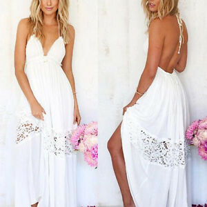 New-Women-Summer-Boho-Lace-Long-Maxi-Evening-Party-Beach-Dresses-Sundress-OT