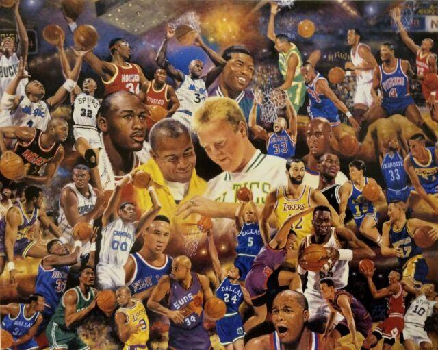 NBA Basketball Greats Poster w/ Michael Jordan, Larry Bird, Magic Johnson & more