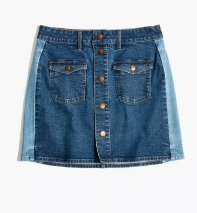 New Madewell Stretch Denim Straight Mini Skirt Pieced Edition bluee Sz 30 H6086