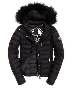 Details zu Superdry Womens Fuji Slim double zip Jacket Black Coat Fur Ship Internationally