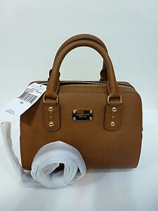 6bb76944e4156 Michael Kors Small Saffiano Leather Satchel Luggage Brown 887042364310