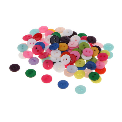 100Pcs 1cm Resin Sewing Buttons 2 Flat Hole for Scrapbooking Embellishments