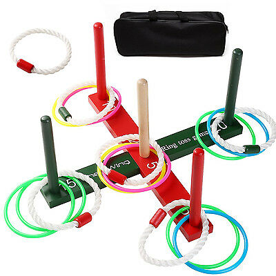 Wooden Ring Toss Game Adults Kids Fun Set Group Games Indoors or Outdoors Play