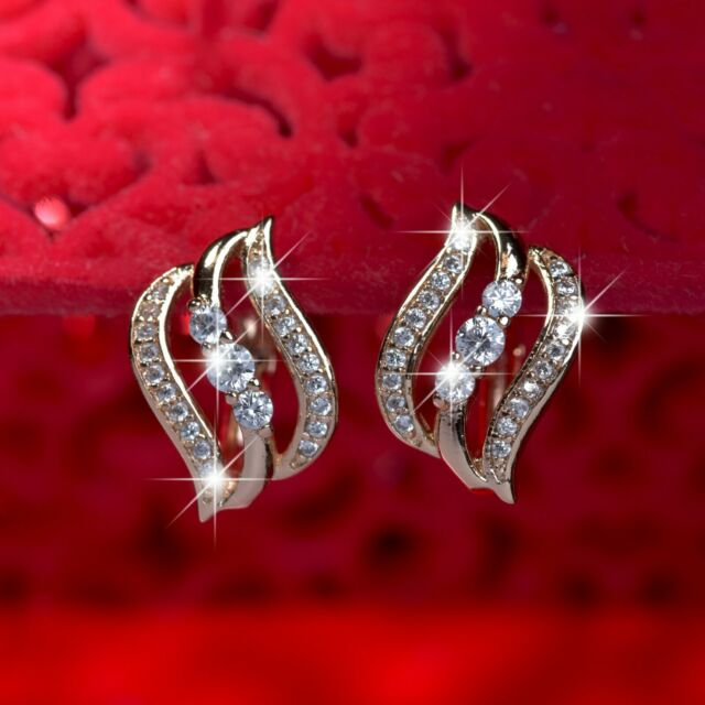 18k yellow gold gf made with Swarovski crystal huggies fashion elegant earrings