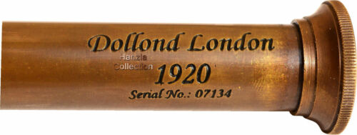 "Nautical Marine Spyglass Brass Telescope w//Leather Case /""Dollond London-1920/"""