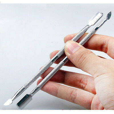 1 Stainless Steel Nail Cuticle Pusher Scraper Metal Remover Gel Polish Cleanser