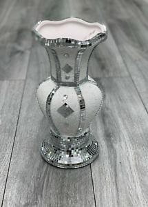 30cm Mosaic Vase Diamond White Crystal Decorative Mirror Flower Luxury Romany ✨