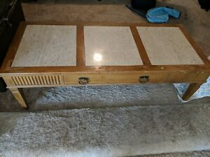 Details About Vintage Mid Century Marble Inlay Coffee Table And End Tables  (4).