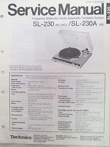 Details about SERVICE MANUAL FOR PANASONIC TECHNICS TURNTABLE SL-230  ORIGINAL NOT A COPY