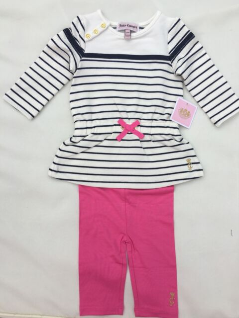 Juicy Couture Baby Striped 2 Pc Leggings Set , Size 12/18 M
