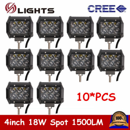 "10X 4/""inch 18W 4D CREE LED Work Light Bar Spot Off-road 4WD ATV SUV Driving Lamp"