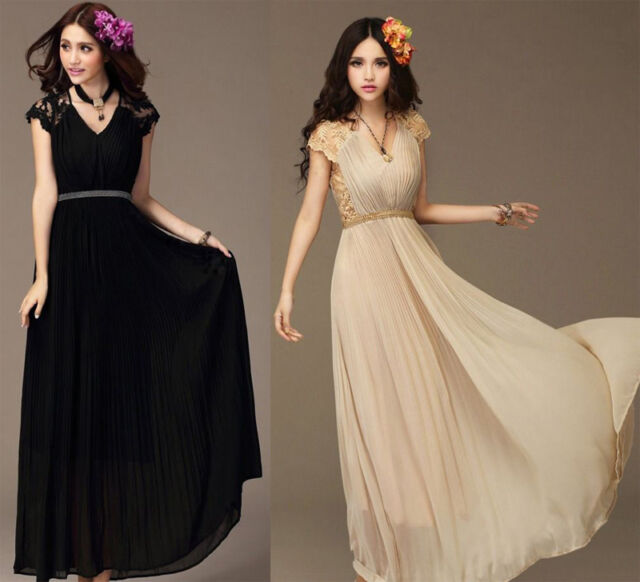 New Bridesmaid Lady Long Cocktail Evening Party Chiffon Lace Maxi Vintage Dress