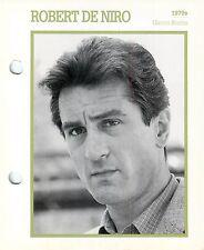 "Robert De Niro 1970's Actor Movie Star Card Photo Front Biography on Back 6 x 7"""