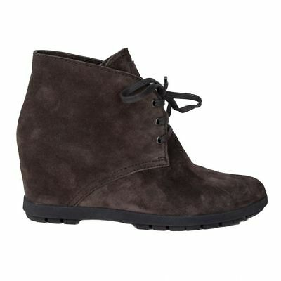 e51f21cb62d 56795 auth PRADA dark brown suede leather LACE-UP WEDGE Ankle Boots Shoes  40   eBay