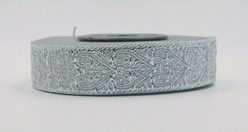 0,69 €//m 10m Jacquard Borte Webband Mittelater//Larp 16mm Breit Lurex Silber