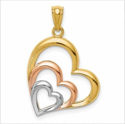 14kt Tri color Hearts Pendant Charm 25mm x 17mm Made in U.S.A. Brand New