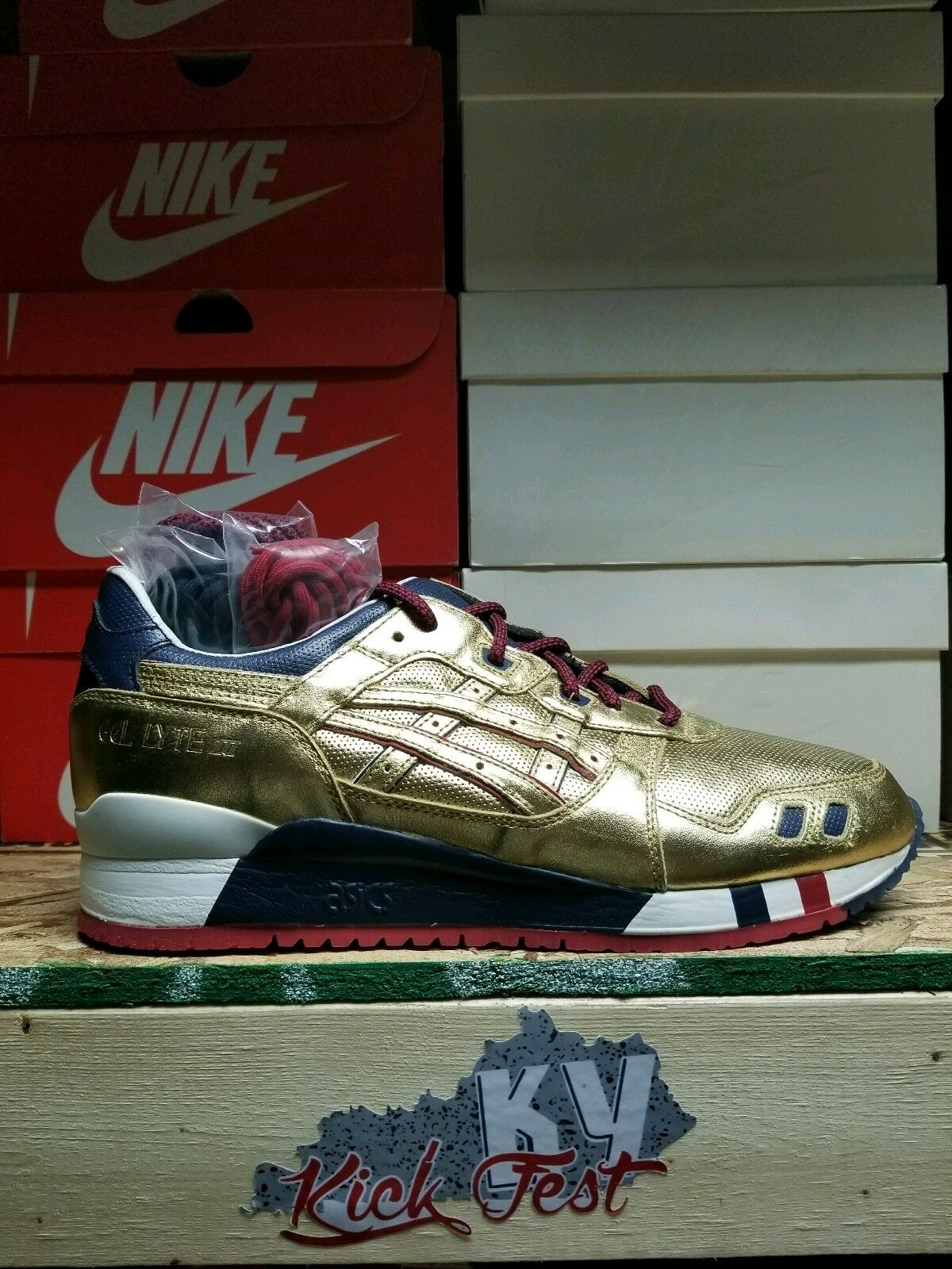 Brand New Ronnie Fieg Doré USA Asics Gel Lyte III Homme Taille 13