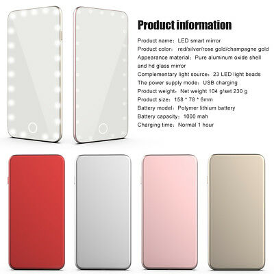 Handy USB Touch Screen LED Cosmetic Makeup Mirror Cold Light Vanity Mirror OB