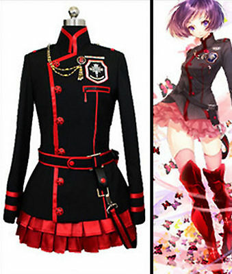 D GRAY MAN Lenalee·Lee Anime Black Red Halloween Cosplay Costume Uniform