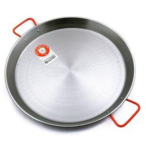 46cm-Carbon-Steel-Paella-Pan-10-12-Serves-Made-in-Spain-Red-Handles