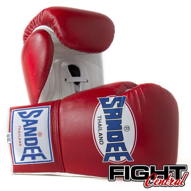 MMA BOXE MUAY THAI SANDEE PRO Lacci Guantoni-Rosso-GRATIS P/&P