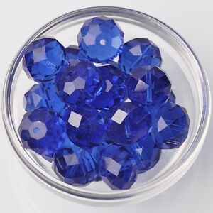 10pcs-18x13mm-Rondelle-Faceted-Crystal-Glass-Loose-Beads-Blue