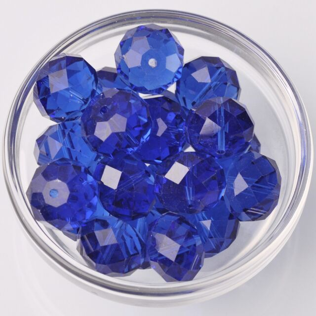 10pcs 18x13mm Rondelle Faceted Crystal Glass Loose Beads Blue