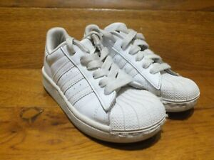 uk availability cb27a 82735 Details about Kids adidas Superstar White Leather Casual Trainers Shoes  Size UK 10K EU 28