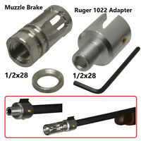 Ruger 1022 Bird Cage Muzzle Brake + Adapter Combo 1/2x28 Thread, Silver Finished