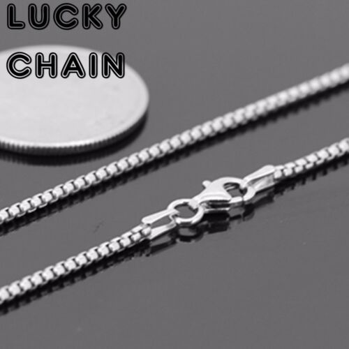 """22/""""925 STERLING SILVER ROUND BOX CHAIN NECKLACE 1.5MM 10g E69"""